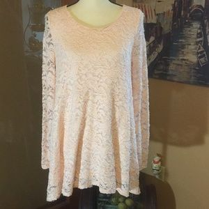 Forever 21 Pink lace lined Hi low tunic